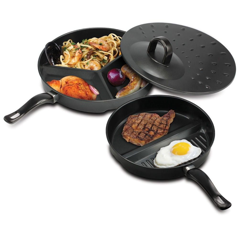 This three-piece set lets you cook multiple meal courses at once! It includes a three-section pan, a dual-section pan, and a vented simmer lid. Both pans feature durable Nonstick surfaces for easy cooking and cleaning.  Item weight: 2.5 lbs. 2-section pan: 10