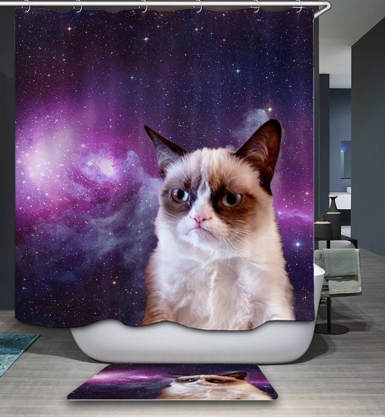 f9b6273c7e29 Pure Evil Grumpy Cat Galaxy Shower Curtain Bathroom Decor | Products ...