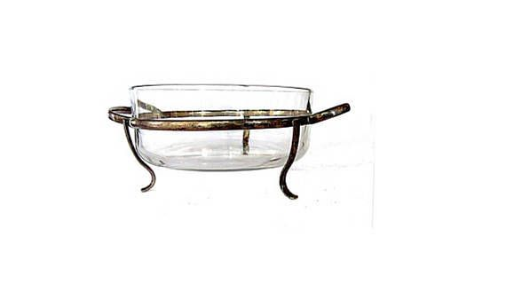 Vintage Elegant Casserole Dish With Stand Glass Bowl With Brass Or Copper Holder Stand Is Silver Plated Vin Serving Dishes Glass Serving Bowls Vintage Cups