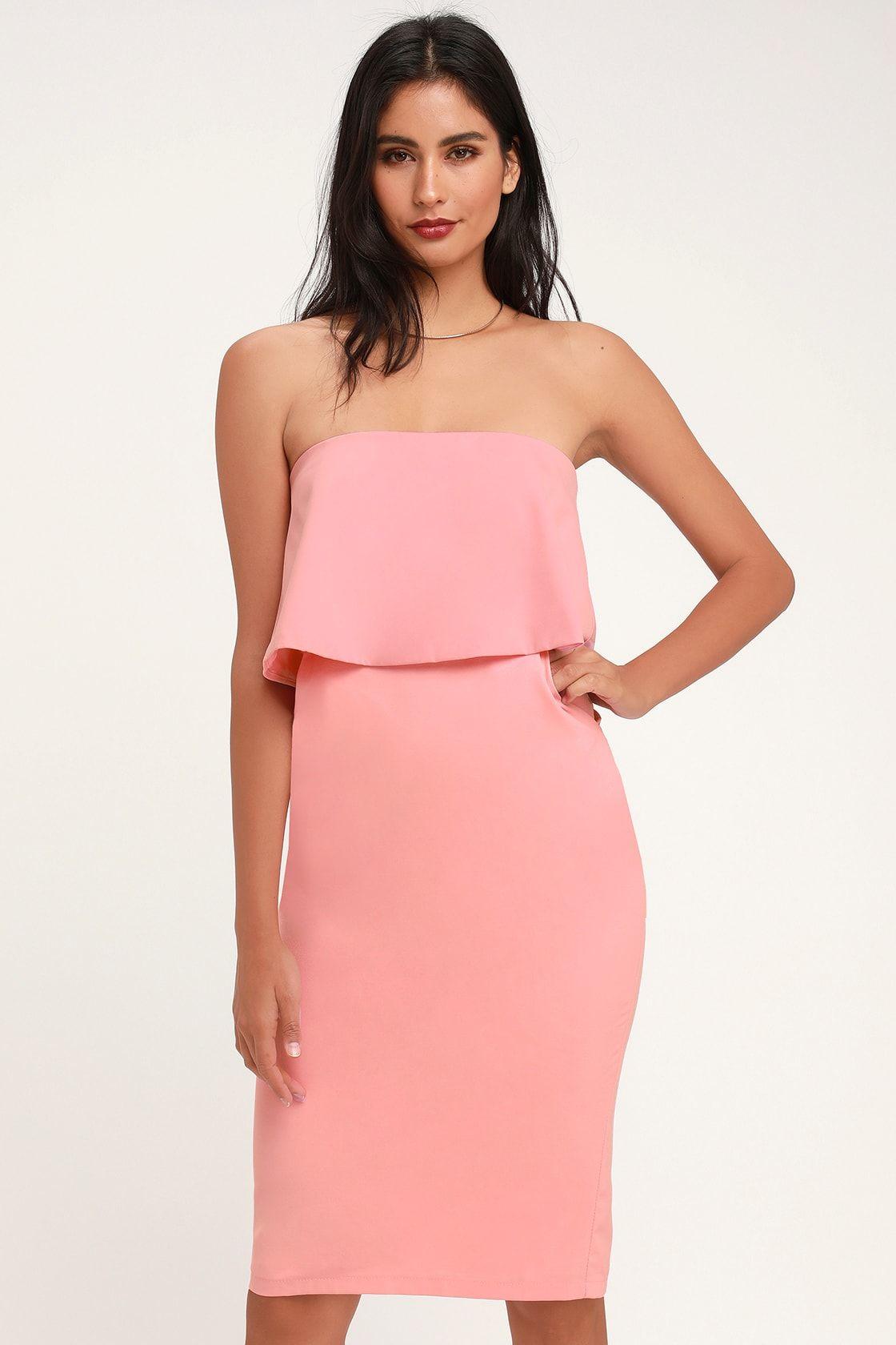 Lots Of Love Light Pink Strapless Midi Dress Strapless Midi Dress Dresses Midi Dress Bodycon [ 1680 x 1120 Pixel ]