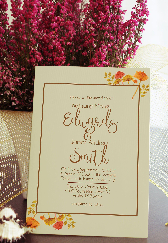 Simple Fall Flower and Leaves Wedding Invitation 5x7 Leaves, flowers ...