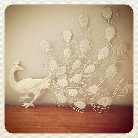 Vintage White Metal Peacock