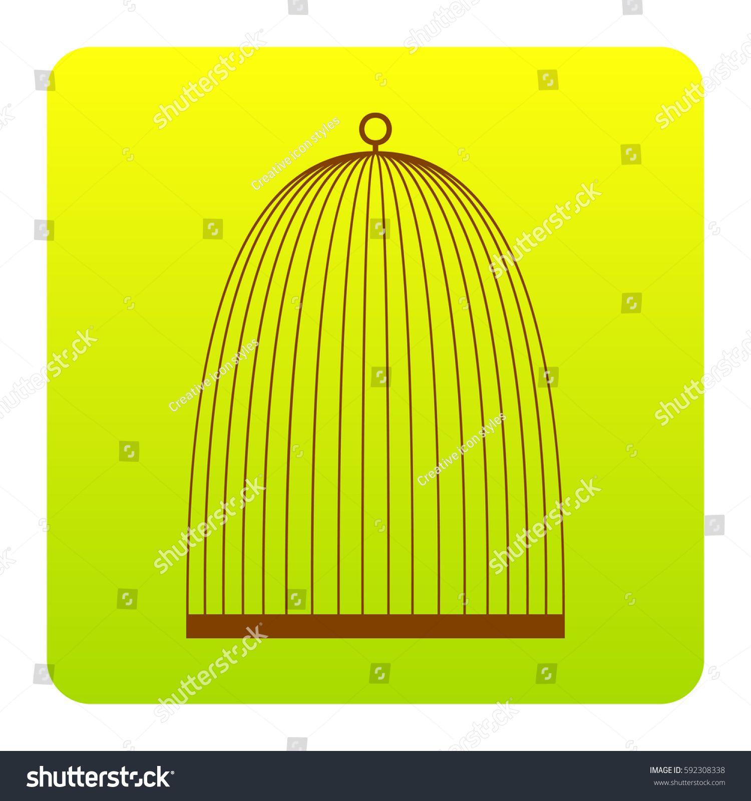 Bird cage sign. Vector. Brown icon at greenyellow