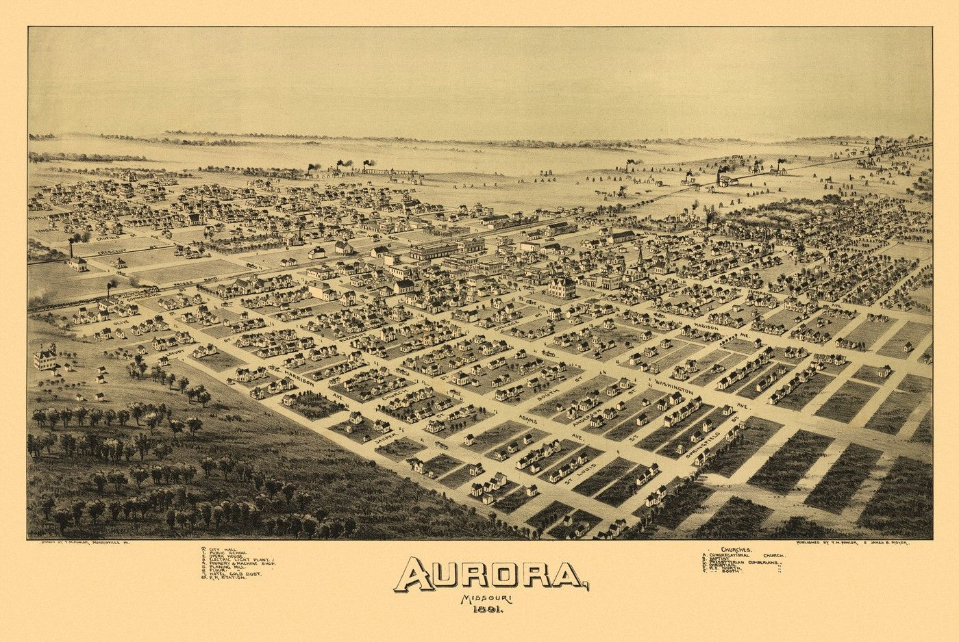 Vintage Map of Aurora Missouri 1891 Lawrence