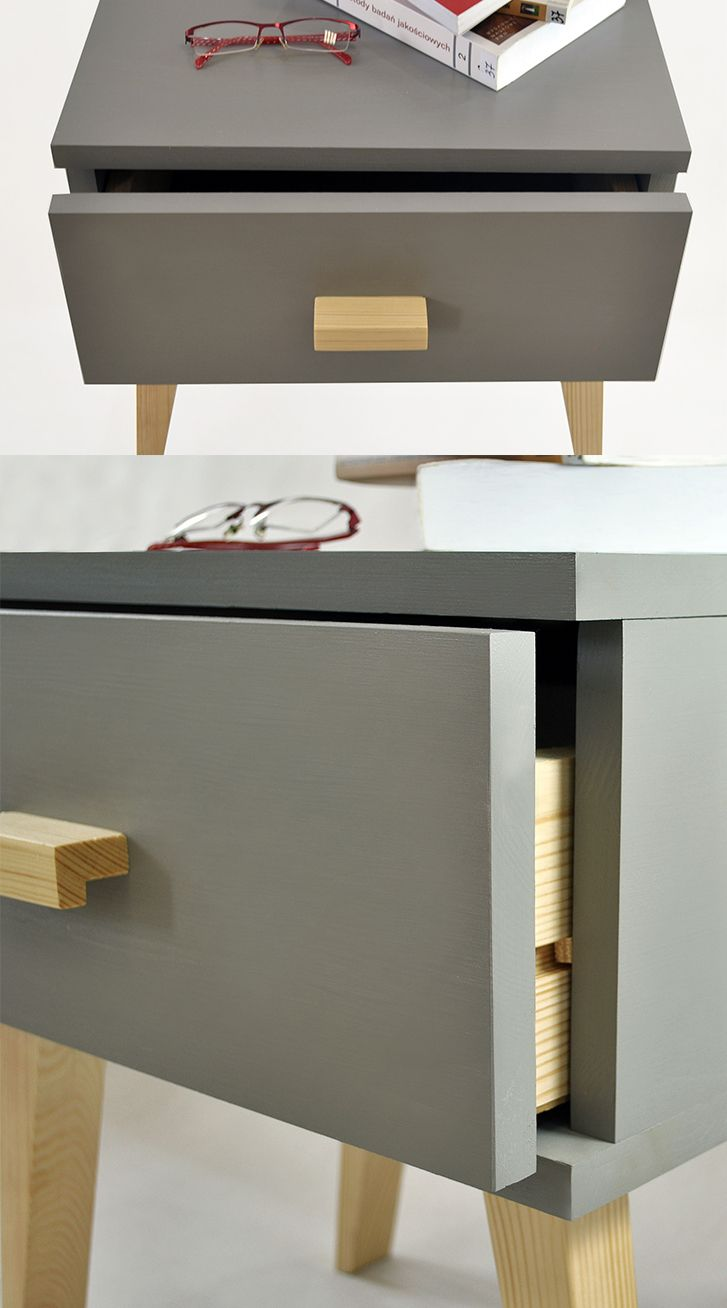 Wood And Metal Bedside Table: Details About Grey Wooden Bedside Table Scandinavian