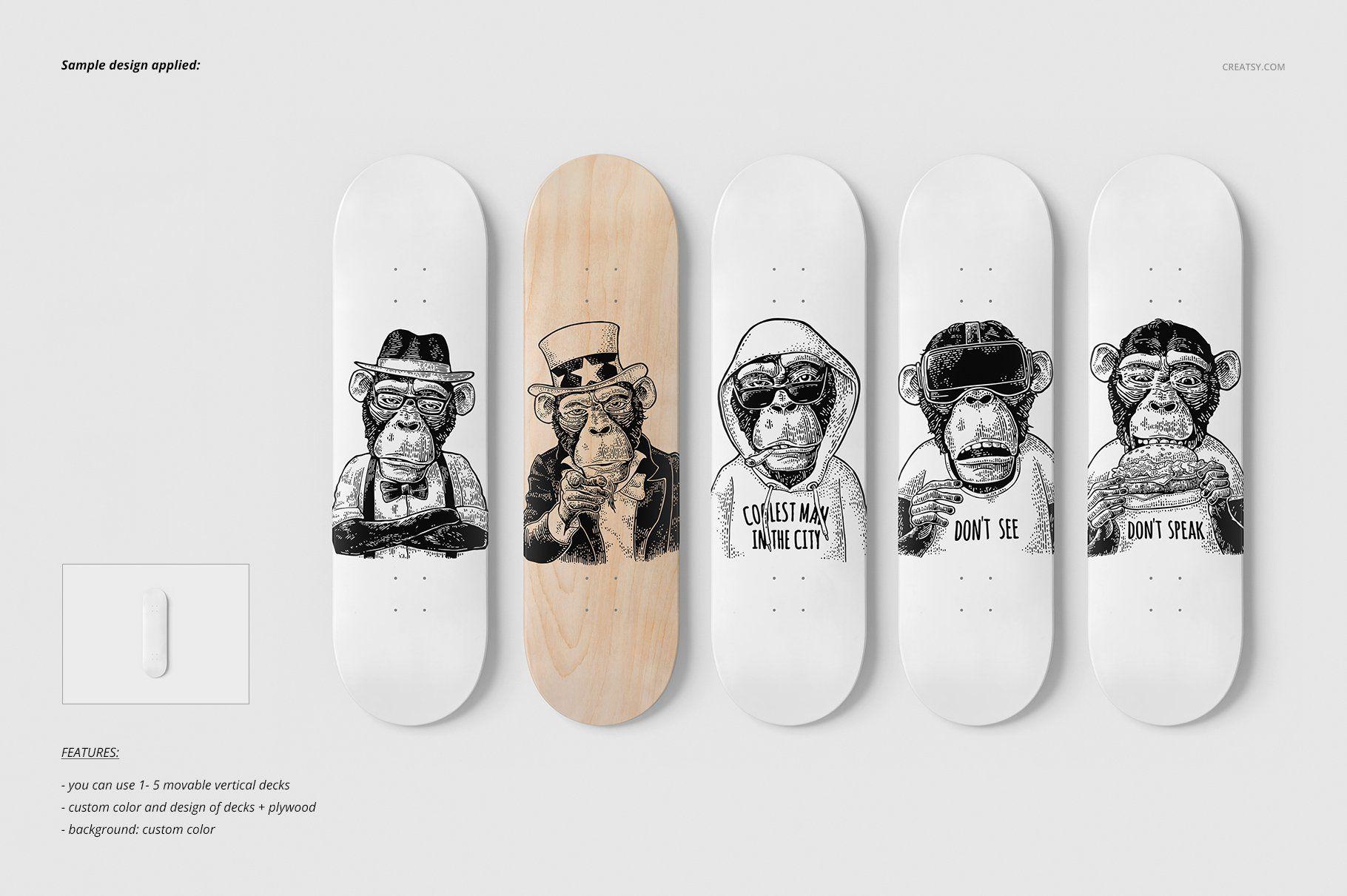 Skateboard Decks Wall Art Mockup Skateboard Wall Art Skateboard Decor Skateboard Deck Art