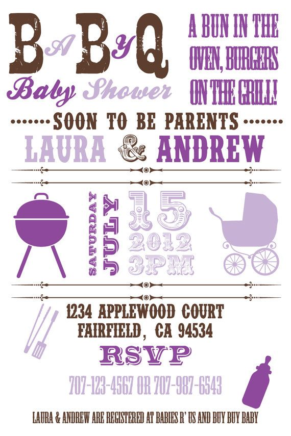 Printable Baby Q BBQ Baby Shower 4x6 or 5x7 by PuzzlePrints, $13.00 ...