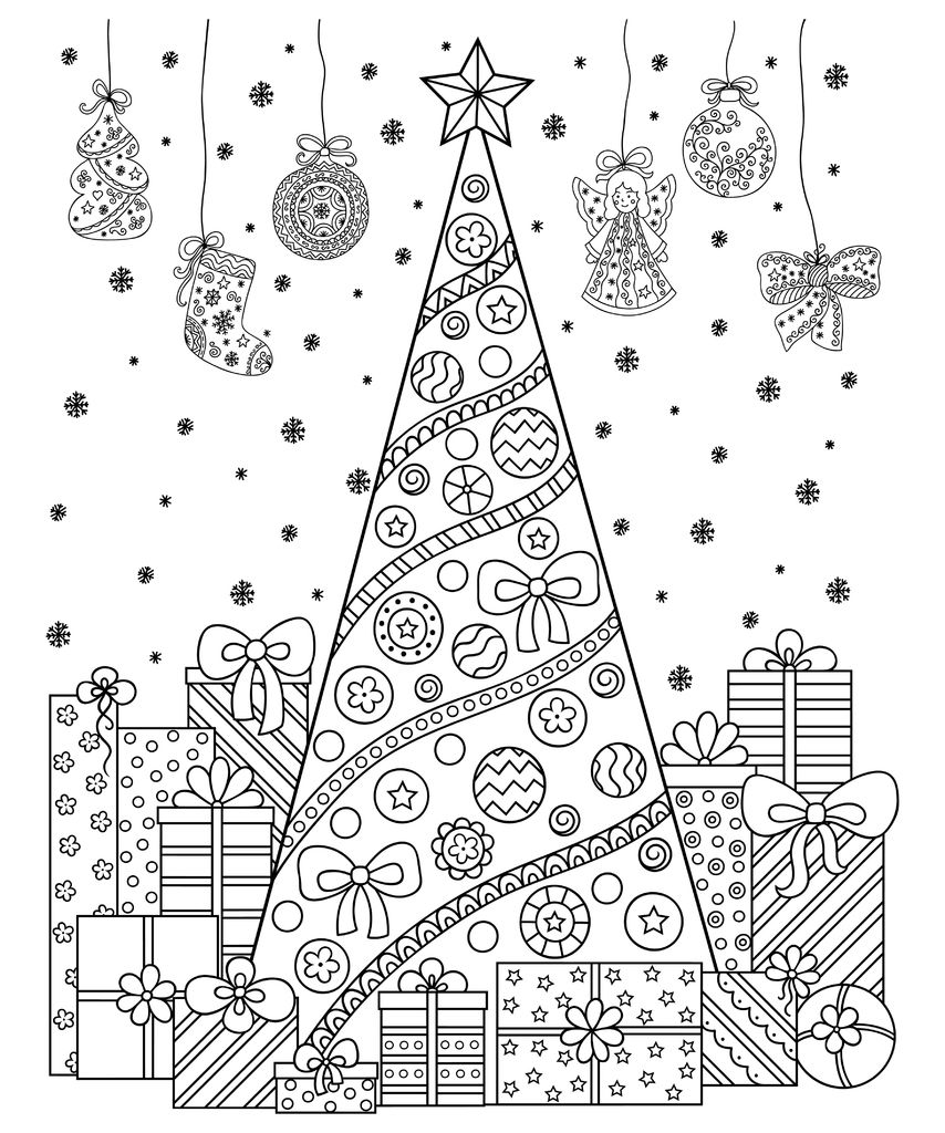 Ad81430533be3e790b37566772fd36606cc6268c 1024x1024 Jpg 854 1024 Doodle Patterns Christmas Coloring Pages Christmas Tree Collection