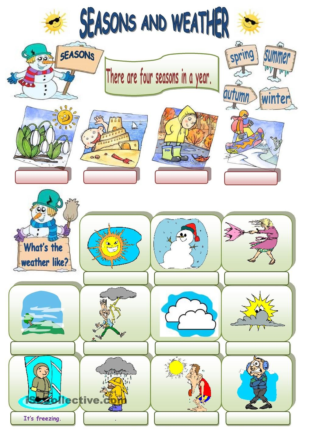 seasons and weather | ESL 2 | Pinterest | Weather, Worksheets and ...