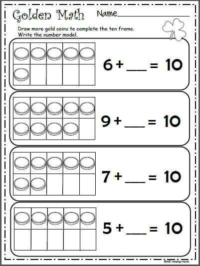 Free Math Ten Frames Worksheet | Kindergarten March | Pinterest ...