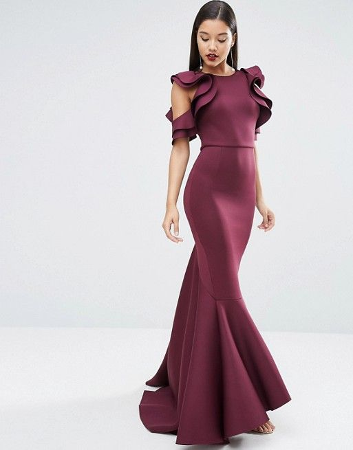 68a6bc3fdab0 RED CARPET Scuba Ruffle Extreme Fishtail Maxi Dress | Wear It ...