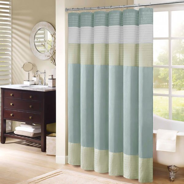 Madison Park Chester Pieced Faux Silk Shower Curtain - Overstock ...
