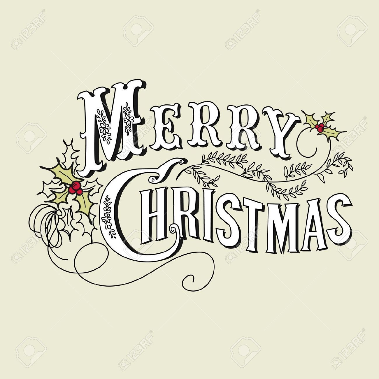 Stock Vector (With images) Merry christmas vintage