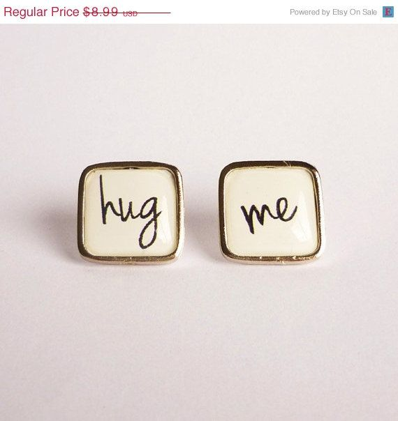 CIJ 15 OFF White Hug me Silver Plated Square Stud by HipCrafts, $7.64 #hug #love #white #square #stud #earrings #hugme #loveme #give #want #need #love