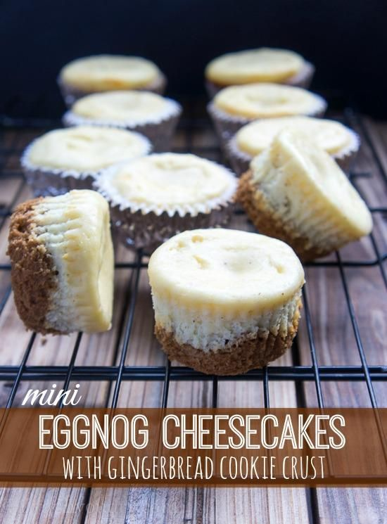 Eggnog Cheesecakes with Gingerbread Cookie Crust #gingerbreadcookies