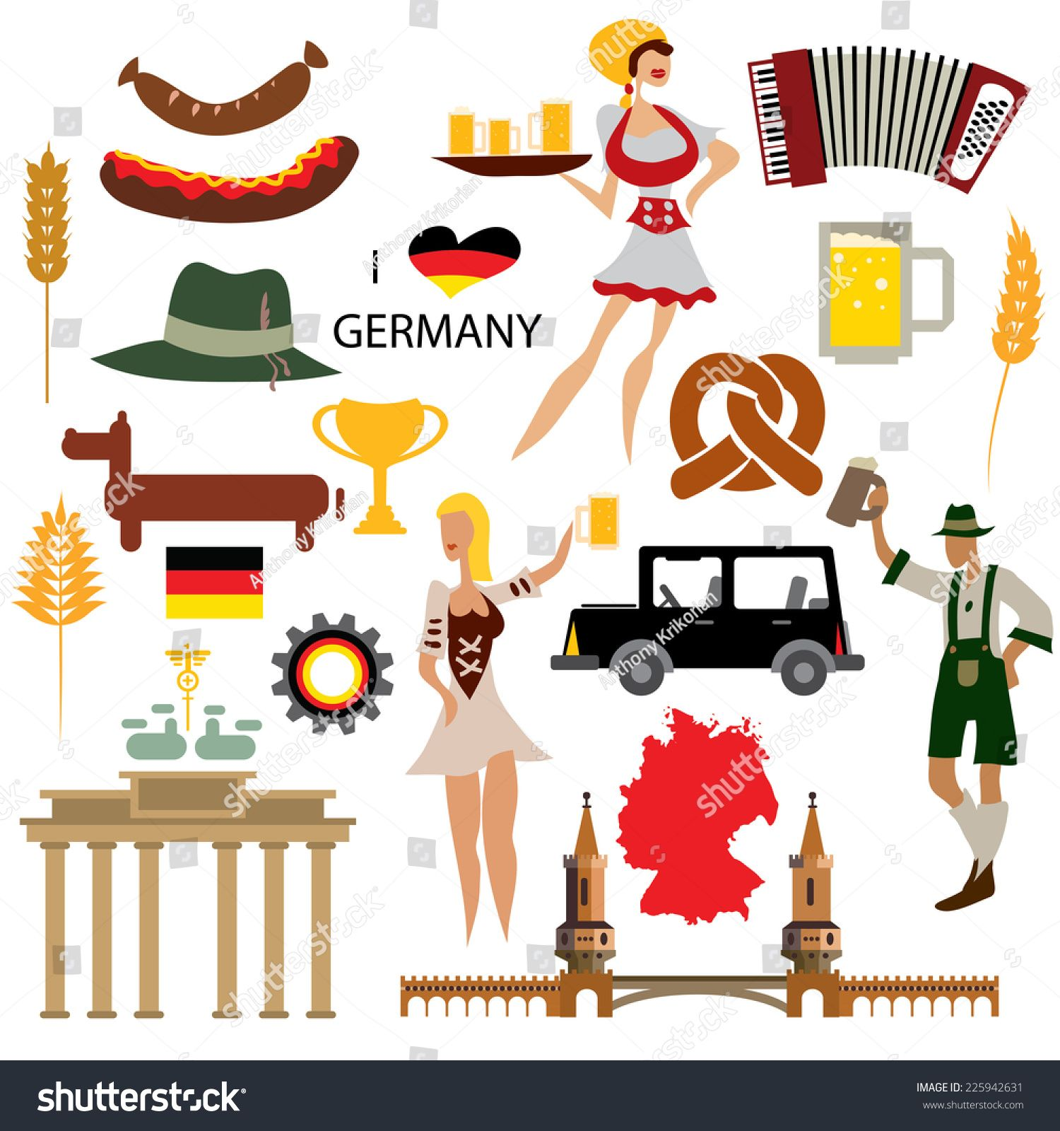 Germany Icon Collection, German flag culture (Vector Art ...