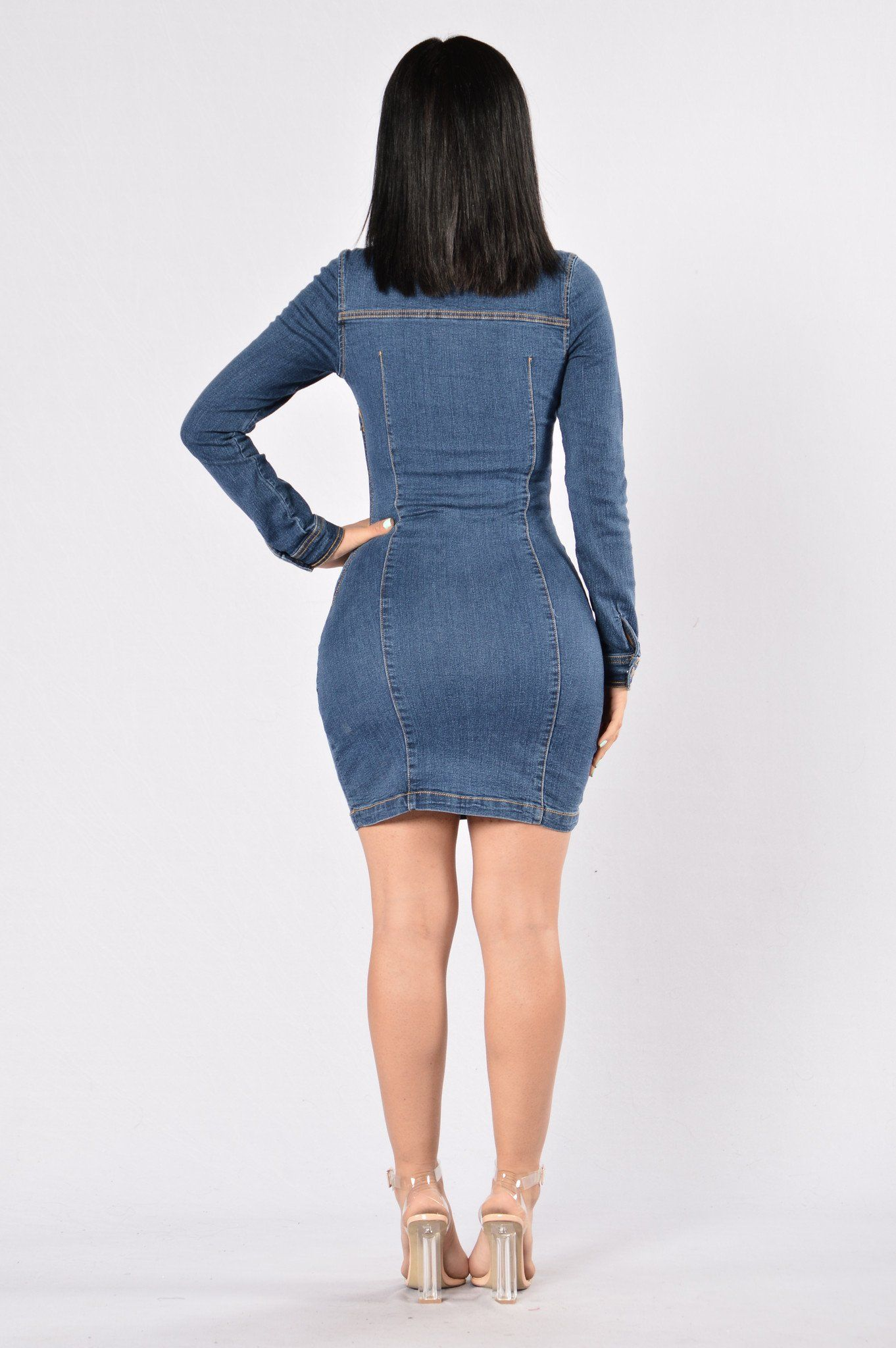 fe74437cbe Available in Dark Denim Lace Up Front Long Sleeve Form Fitting Side Zipper  84% Cotton