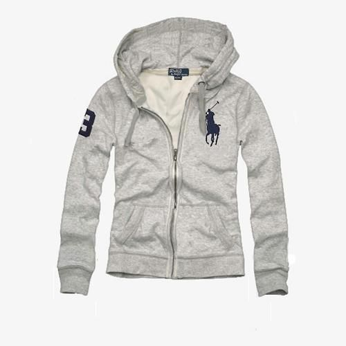 Cheap Ralph Lauren Women's Big Pony Fleece Hoodie Grey