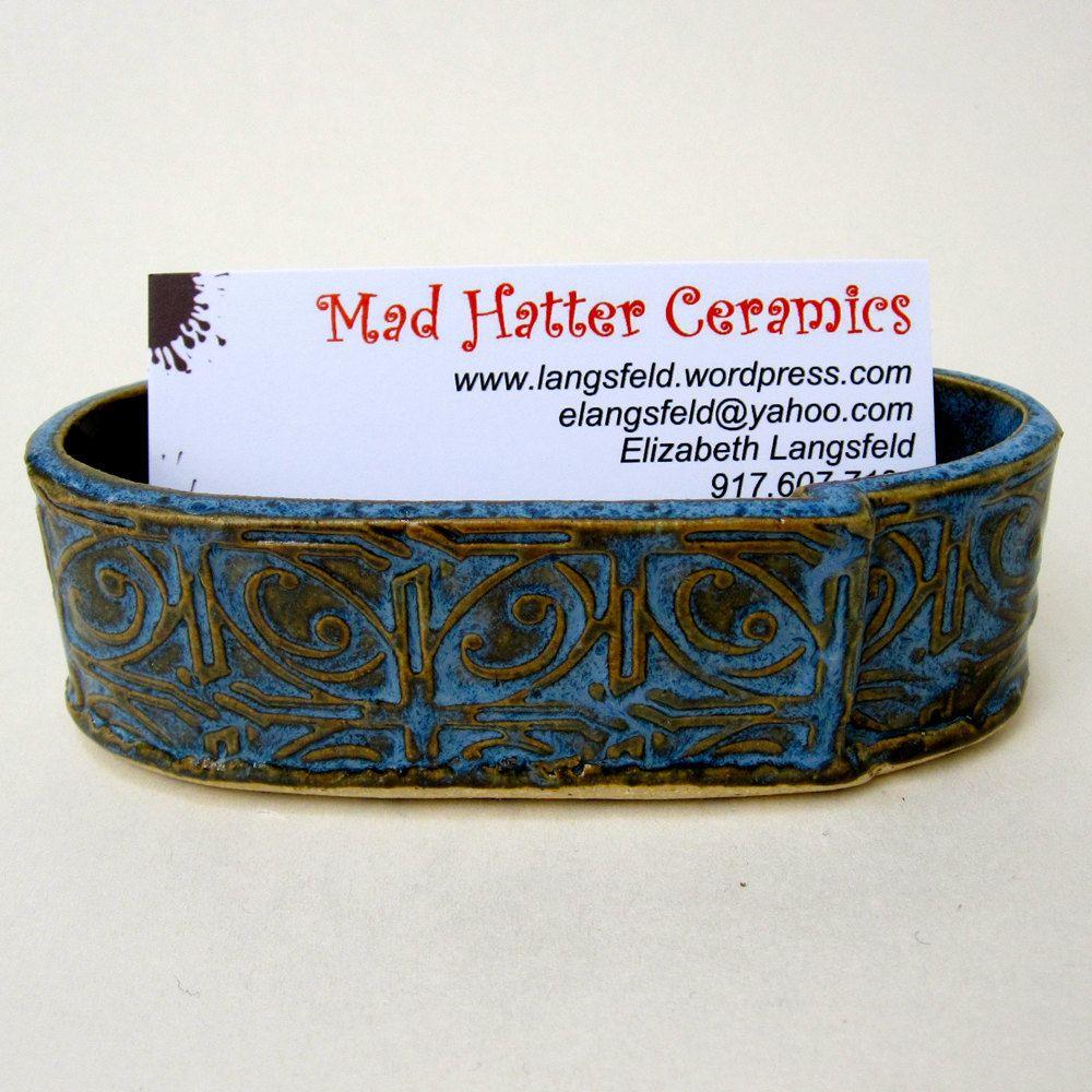 Blue Textured Tin Roof Handmade Ceramic Pottery Business Card Holder ...