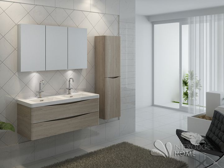 Meuble de salle de bain suspendu en bois avec double vasque en