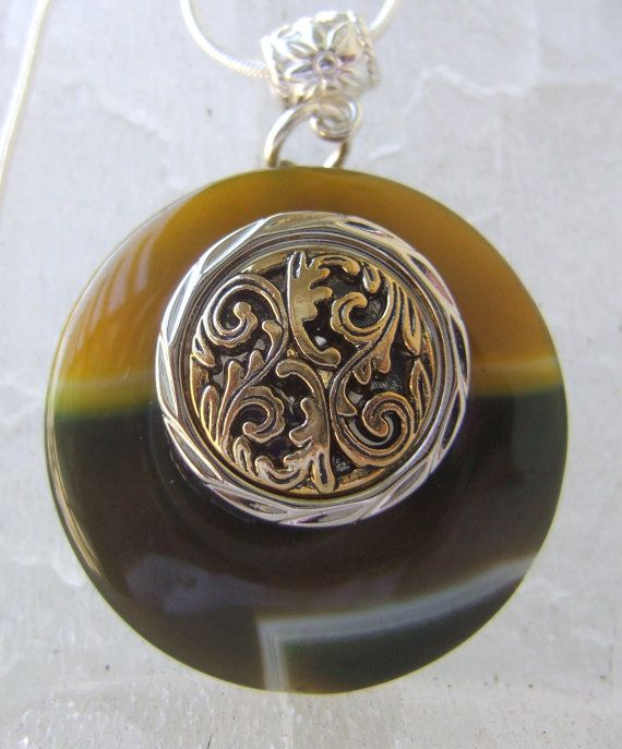 Green Gold Agate Stone Pendant with Metal  Filigree by argenesgems, $32.00