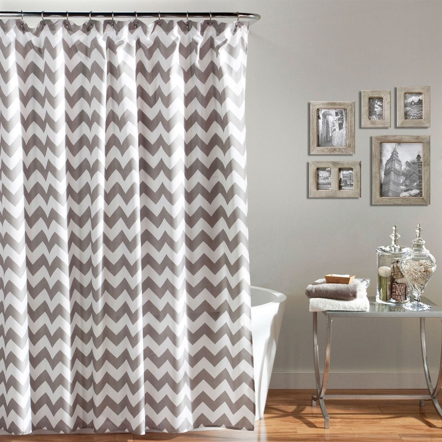 Grey and white chevron polyester fabric shower curtain x inch