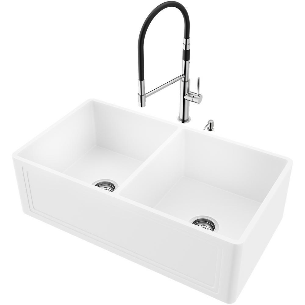 Vigo All In One Farmhouse Apron Front Matte Stone 33 In Double Bowl Kitchen Sink With Faucet In Stainless Steel Matte White Double Bowl Kitchen Sink Sink Farmhouse Sink Kitchen