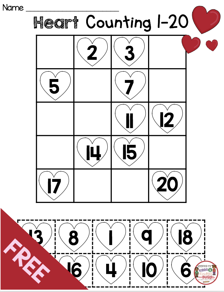 FREE Valentine Heart Numbers and Counting Valentine s Day Match Center
