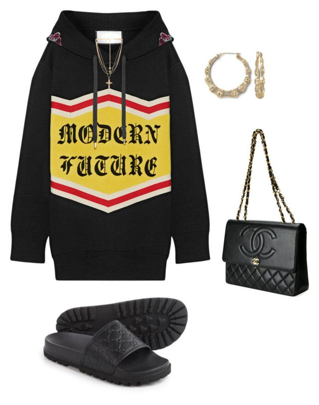 """Untitled #3999"" by mollface ❤ liked on Polyvore featuring Gucci, Vanessa Mooney and Chanel"