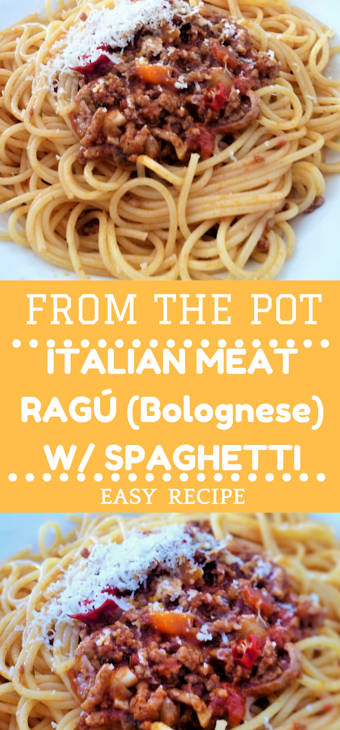 Italian meat ragú with spaghetti. A traditional Italian meat sauce which is very known as Bolognese. Minced meat combined with tomatoes, garlic, onions, red wine and a lot of love makes a really tasty and savoury sauce. You can use this sauce with noodles, for lasagna, for different casseroles or as basic for chili con carne! Try it!