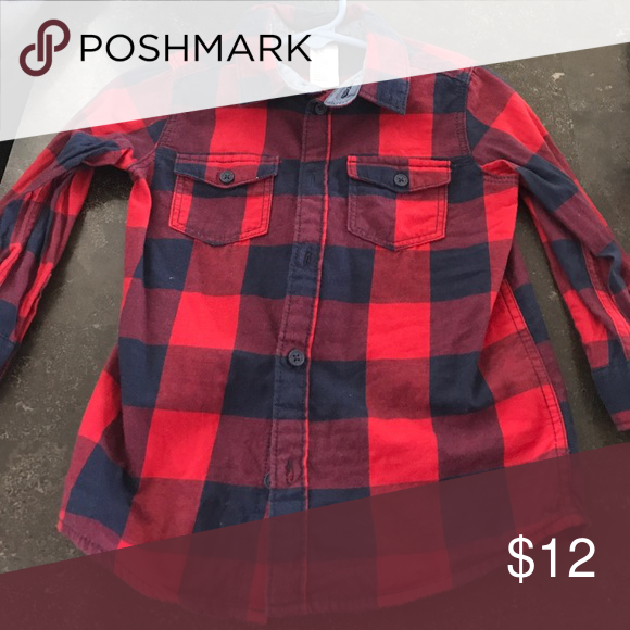H&M button down shirt Worn once & washed size 12-18 months . Red & navy blue Shirts & Tops Button Down Shirts