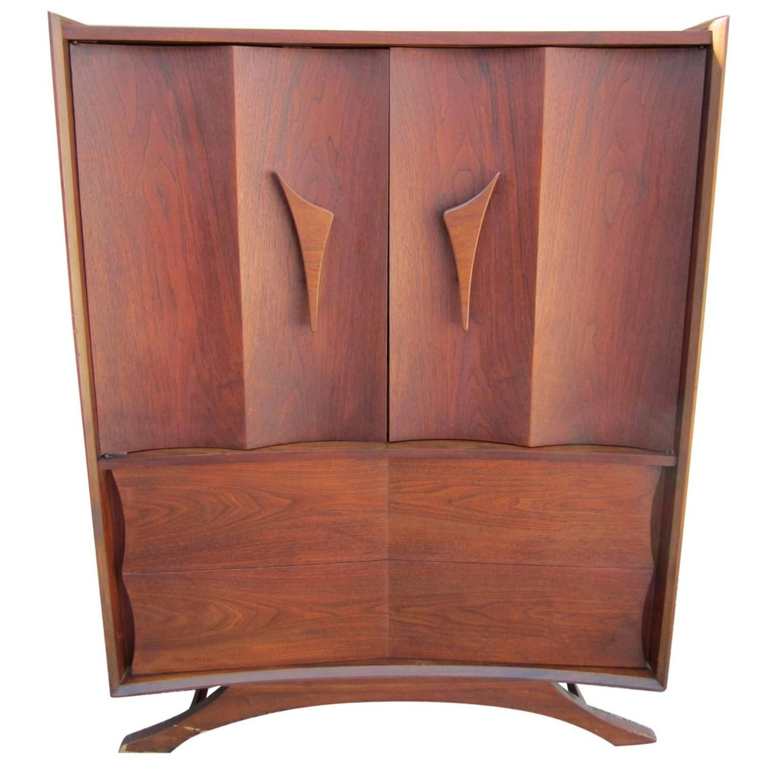 Best Fabulous Sculptural Walnut Tall Dresser Mid Century Modern 640 x 480