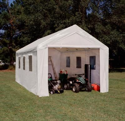 Hercules 10 X 20 Portable Garage Canopy With Sidewalls And Plastic Windows Polyethylene Cover 2 Steel Canopy Shelter Outdoor Canopy