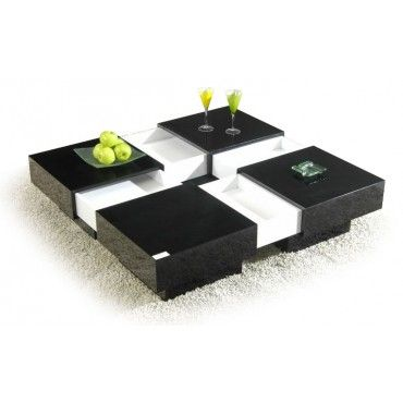 Coffee Table Extendable Top.Modern Glossy Square Extendable Top Coffee Table With Storage Nagai
