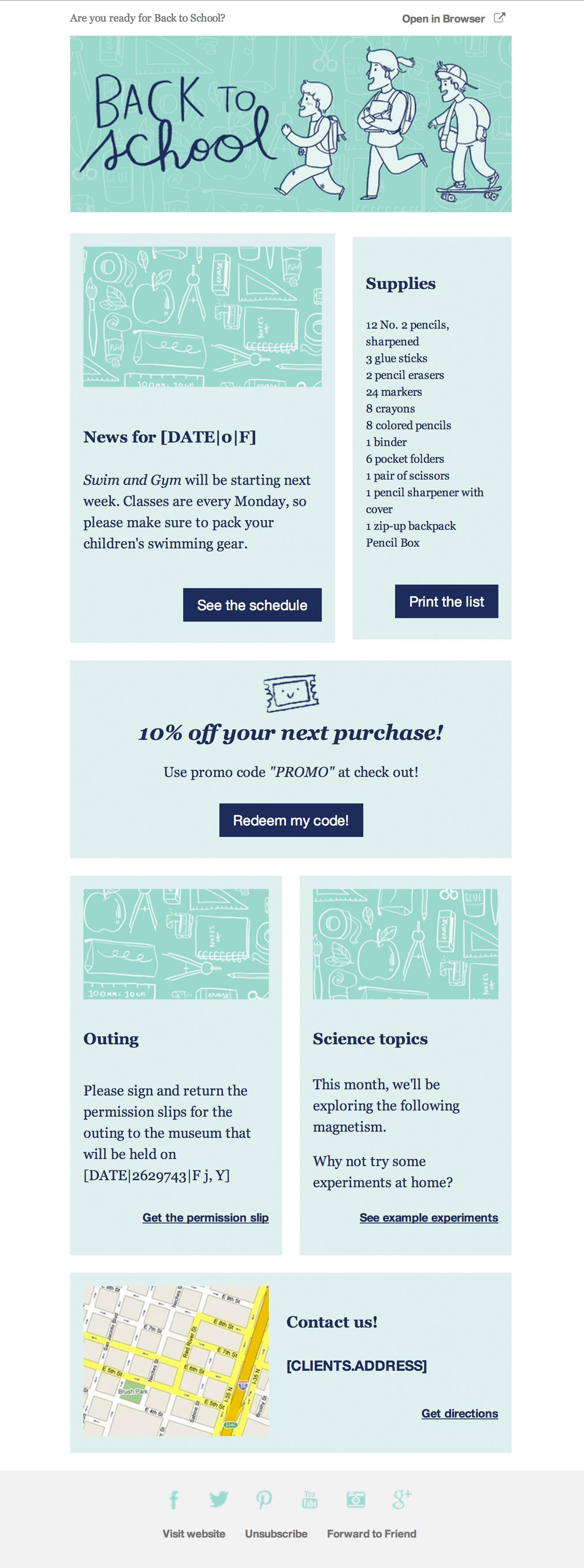 Preview Back To School Newsletter Template  Cakemail  Email Ui