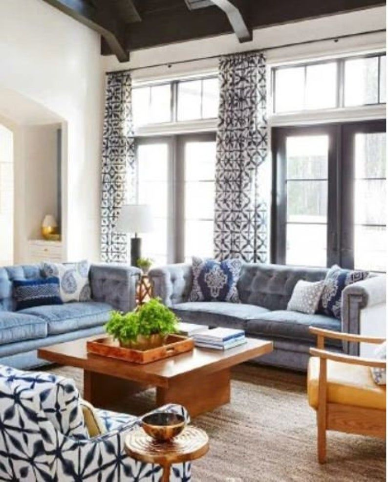 Schumacher Andromeda Indigo Drapery Panels Pinch Pleat Curtains High End Drapes Coastal Style Living Room Coastal Living Rooms Room Layout Design