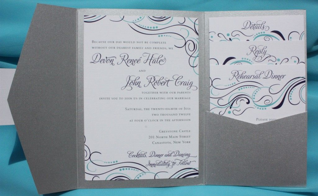 turquoise purple and silver whimsical swirl and dots pocketfold wedding invitations - Silver Wedding Invitations