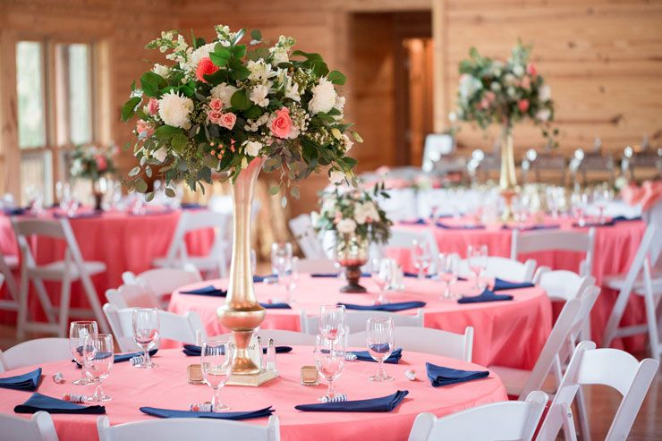 Coral Navy wedding reception decor center peice ideas