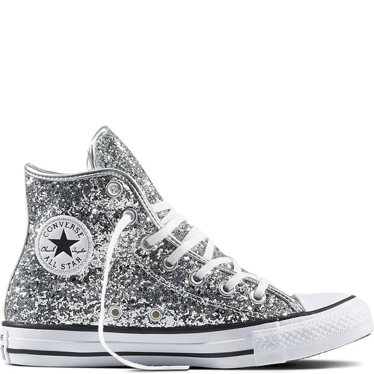 converse all star glitter bianche