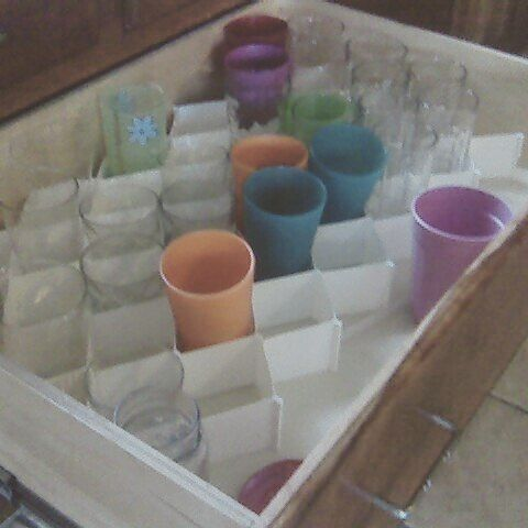 Sock Dividers Used To Hold Drinking Glasses In A Deep