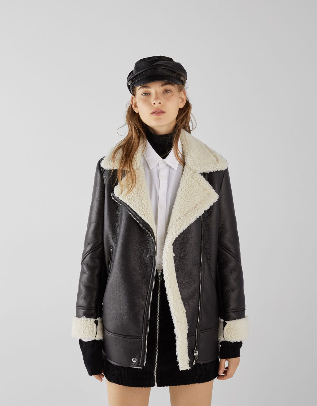 72ac89a10ce1 Faux leather biker jacket with faux shearling lining