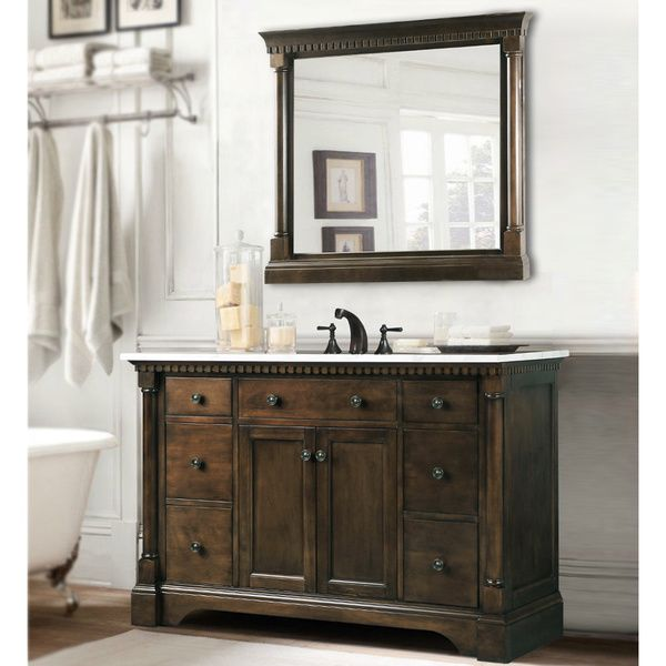 Carrara Marble Top Bathroom Vanity in Coffee Bean/ White Finish with