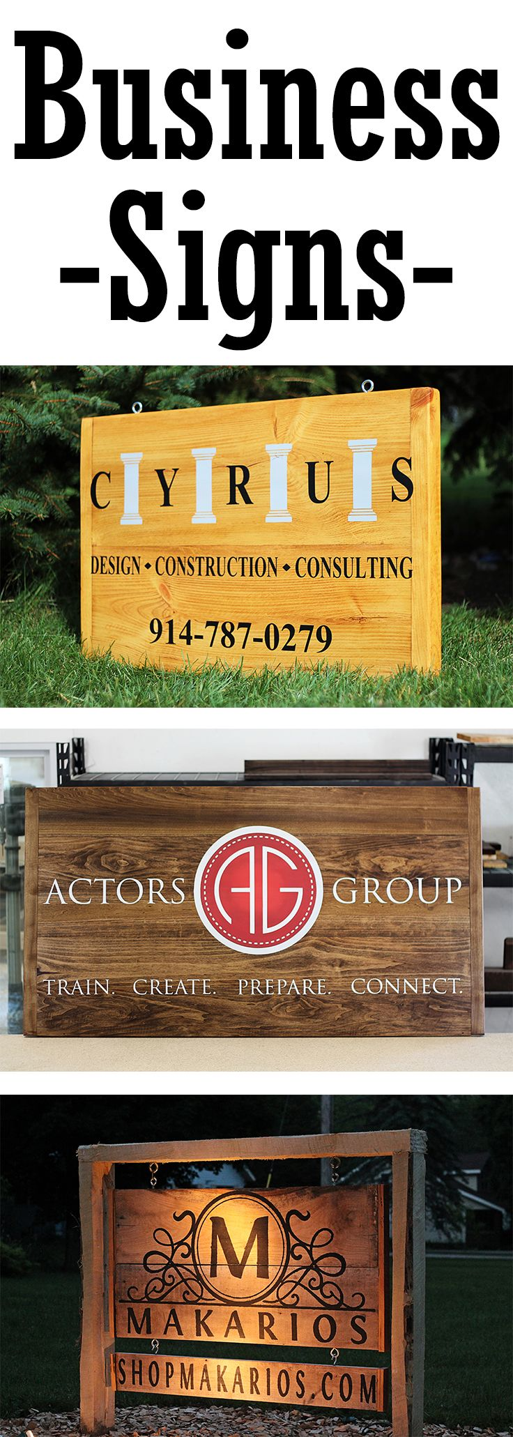 Business Signs Custom Sign Outdoor Hanging Personalized For My With Logo
