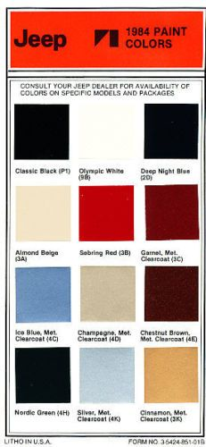 1984 Jeep Paint Color Brochure