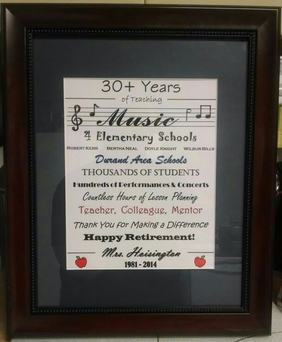 Retirement Gift For Music Teacher Crafts Music Teacher Gifts