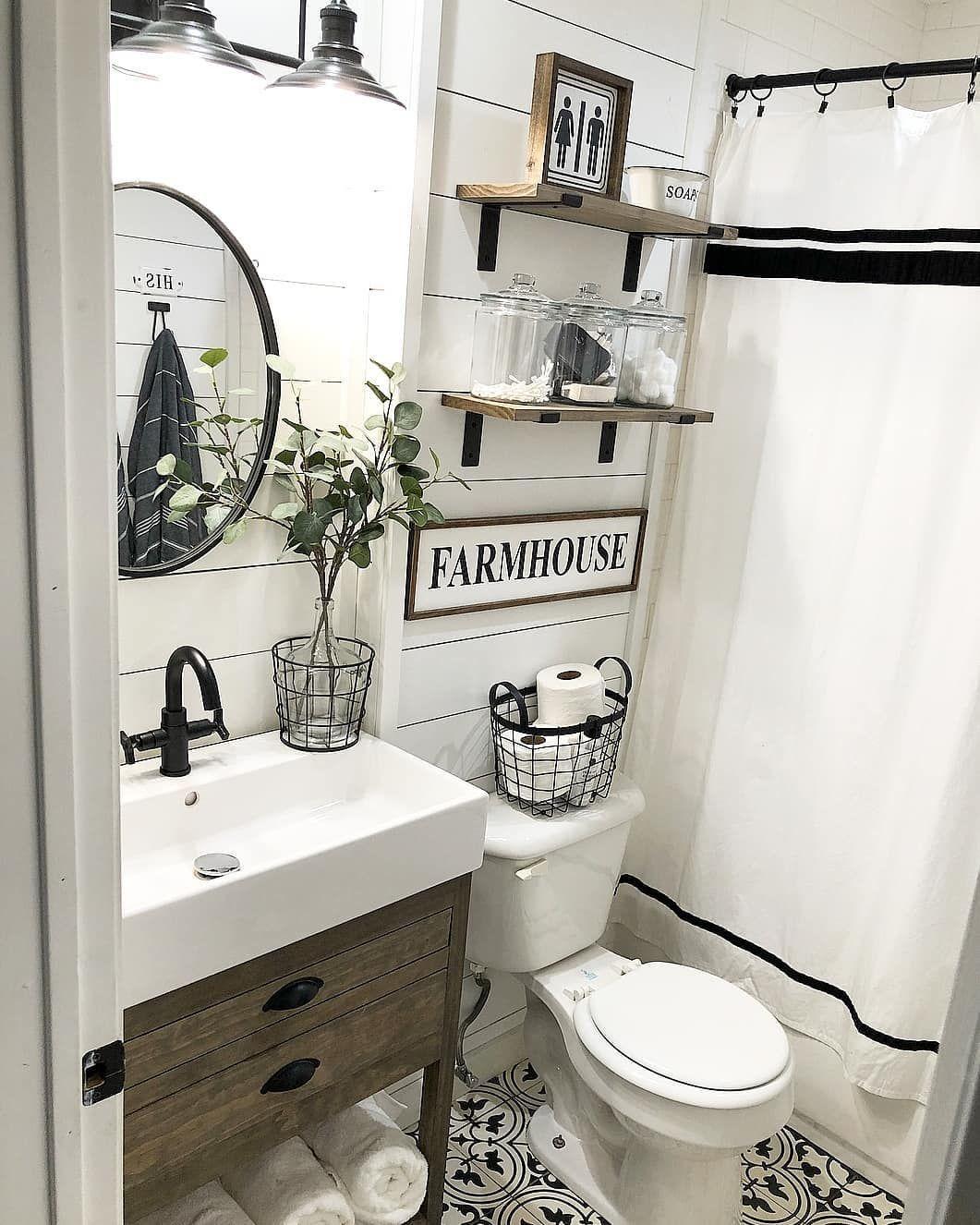 Farmhouse Goals On Instagram This Farmhouse Bathroom Is Goals What Do You Think Farmhouse Bathroom Decor Modern Farmhouse Bathroom Bathroom Makeover