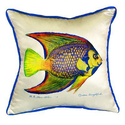 Betsy Drake Interiors Queen Angelfish Indoor/Outdoor Throw Pillow Size: Small