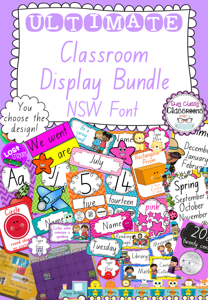 Ultimate Classroom Design ~ Ultimate classroom display bundle nsw font fonts