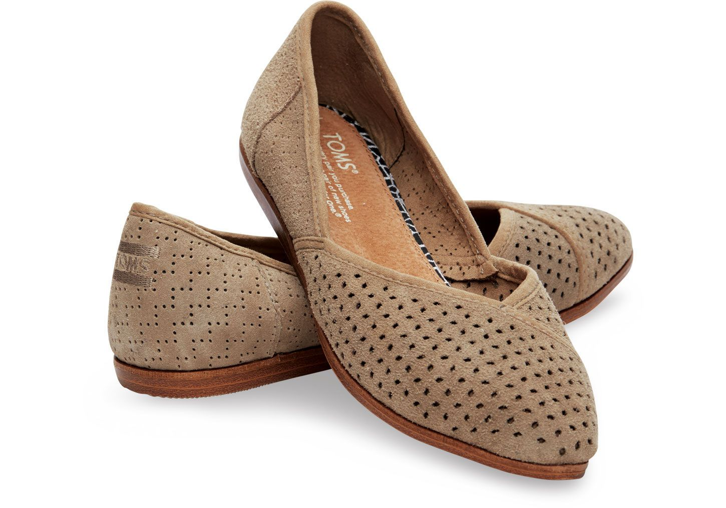 e099128a8a9b Lyst - Toms Taupe Suede Perforated Women s Jutti Flats in Brown ...