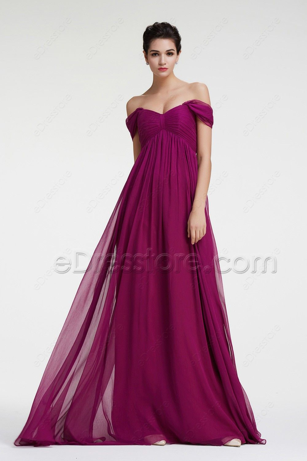 9ef865b241d5a The magenta bridesmaid dress features sweetheart neckline with off the  shoulder, pleated empire waist is maternity friendly, A Line skirt with  floor length.